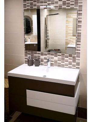 Mobile da bagno sospeso da 100 cm Serie Loris in colore moka