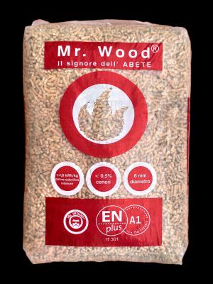 Pellet Mr. Wood in pedana da 25 sacchi da 15 Kg cadauno