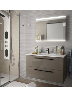 Mobile da bagno sospeso da 90 cm serie Orion Chrome taupe lucido