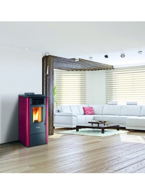 Stufa a pellet FOCO Basic steel Mod. 8 in colore bordeaux