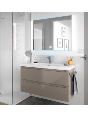 Mobile da bagno sospeso da 100 cm serie Giada in taupe lucido