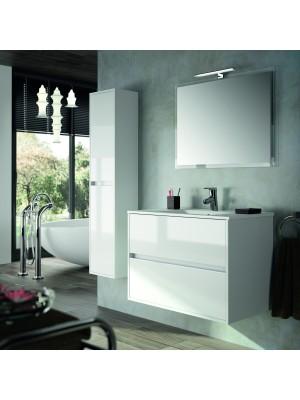 Mobile da bagno sospeso da 100 cm serie Noja bianco lucido