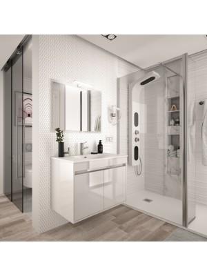 Mobile da bagno sospeso da 60 cm serie Noja bianco laccato lucido